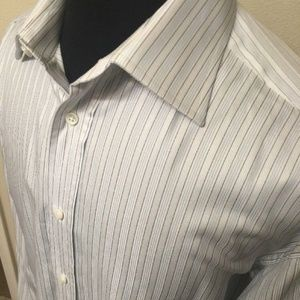 CANALI Men's Shirt Size 16.5 Striped French Cuff